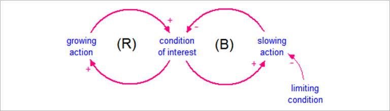 The Causal Loop Diagram (CLD) explaining the limits to growth